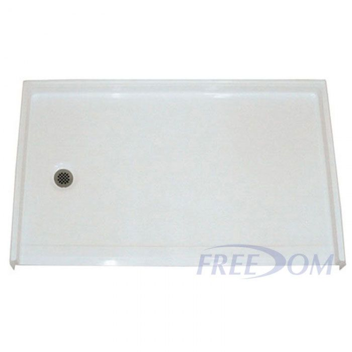 freedom roll in shower pan left drain 60 x 37. Black Bedroom Furniture Sets. Home Design Ideas