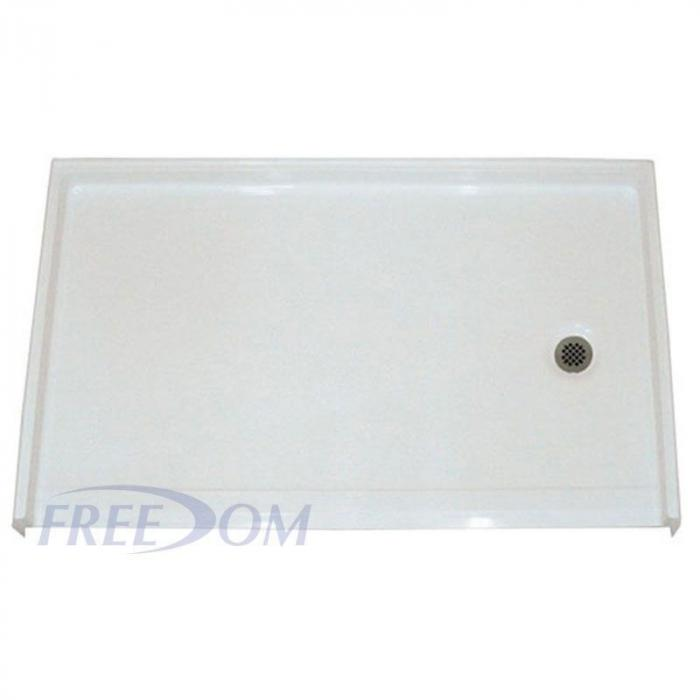 freedom large roll in shower pan right drain 60 x 37. Black Bedroom Furniture Sets. Home Design Ideas