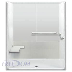 Freedom ADA Roll In Shower, Left Seat, 3 Piece, 64 x 35 inches