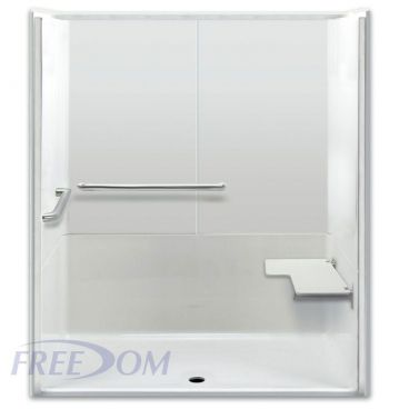 Freedom ADA Roll In Shower, Right Seat, 3 Piece, 64 x 35 inches