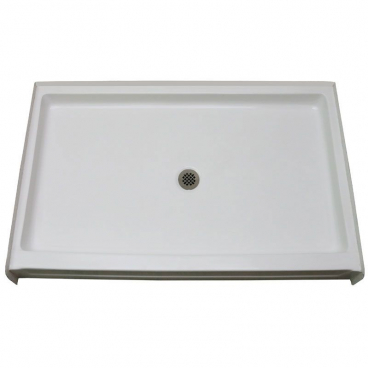 60 x 43 inch easy step fiberglass shower pan center drain