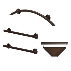 designer shower grab bar package bronze