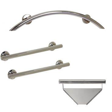 Designer Shower Freedom grab bar package polished