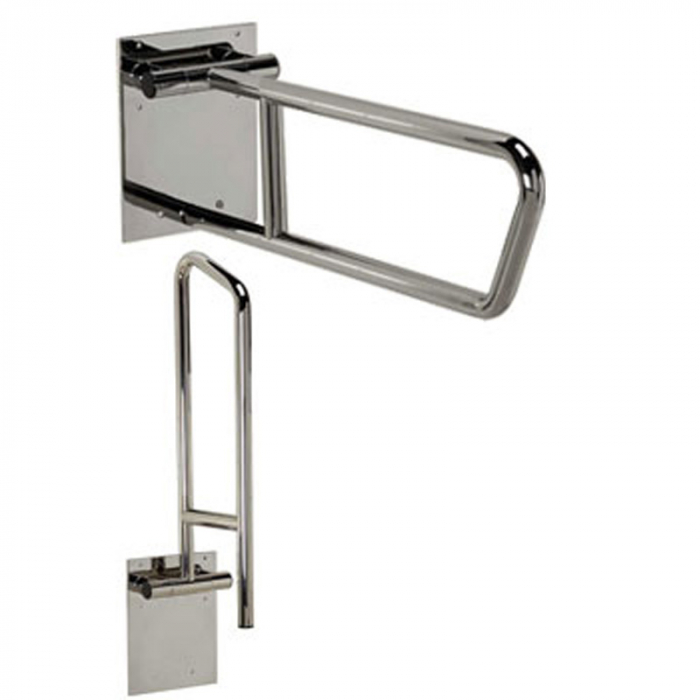 Freedom swing up toilet grab bar polished stainless 30 x 1 1 4 for Commercial bathroom grab bars