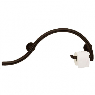 30 inch piano curved grab bar with toilet roll holder bronze