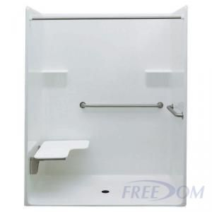 62 x 33 inches Freedom ADA Roll in Shower, LEFT Seat