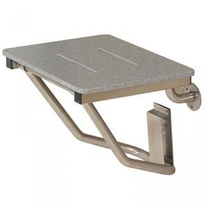 solid surface sanded grey shower seat