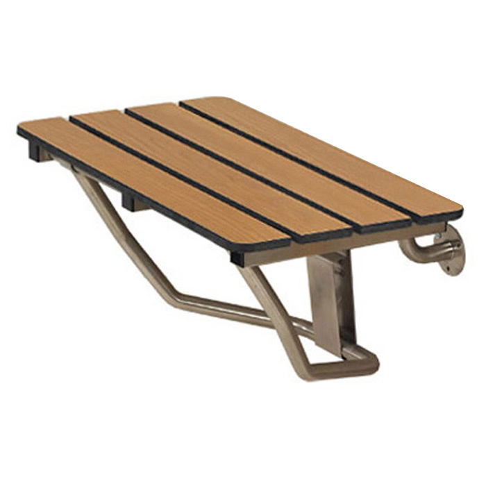 Freedom Folding Shower Bench Phenolic Slatted Teak 18 X 15