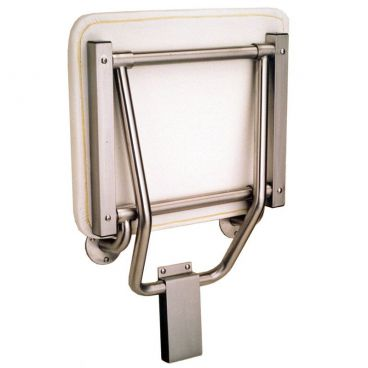 folded shower seat in up position