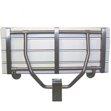 wall supported shower seat in up position