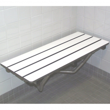 wall supported shower seat in a change room