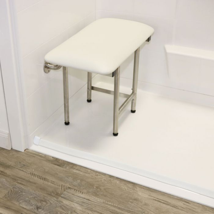 Folding Shower Seat With Legs, Padded White (24\