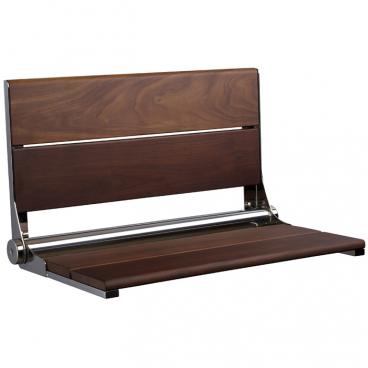 "26"" x 15¾"" Walnut Shower Seat, Polished Stainless Frame"