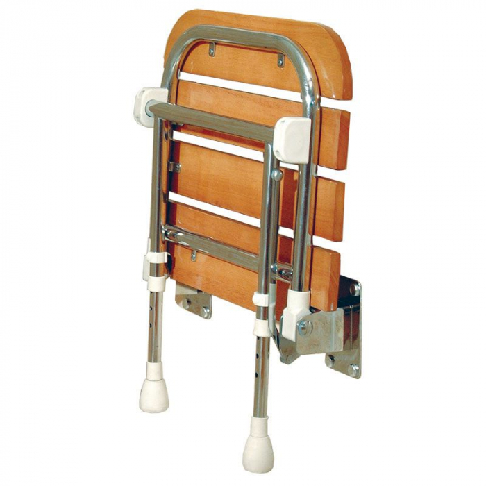 """Fold Up Shower freedom folding shower seat with legs, rubberwood (18 ⅞"""" x 18 ¾"""")"""