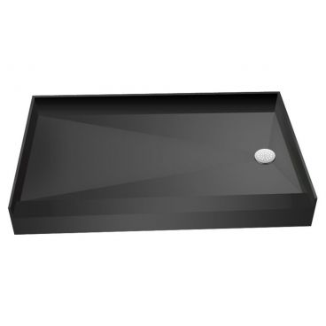 "60"" x 37"" Tile Over Curbed Shower Pan, Right Drain"