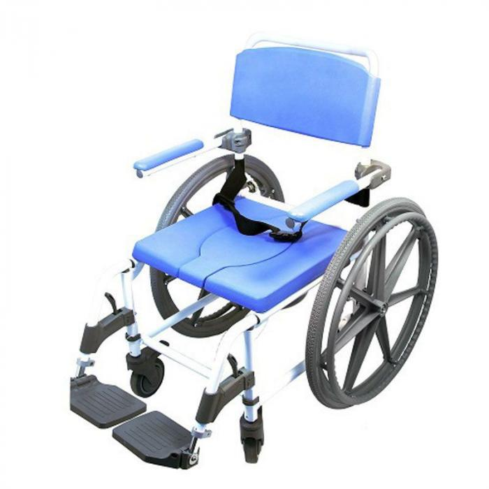 Self Propelled Rolling Commode Shower Chair 18 wide seat