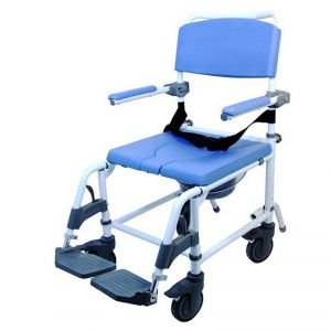 aluminum rolling shower chair with 18 inch seat