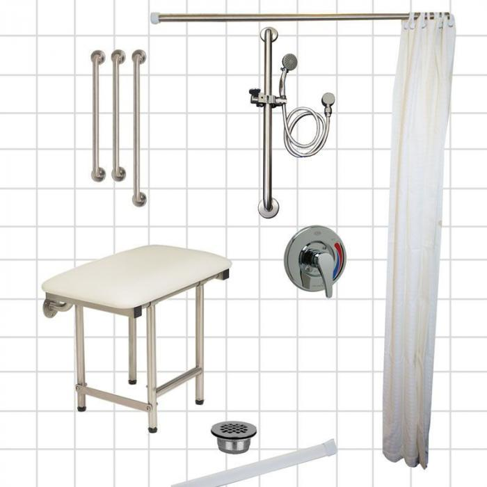 Freedom Accessible Shower Package, Right Drain, 5 Piece (60\