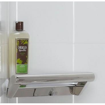 corner shelf with integrated grab bar, satin stainless