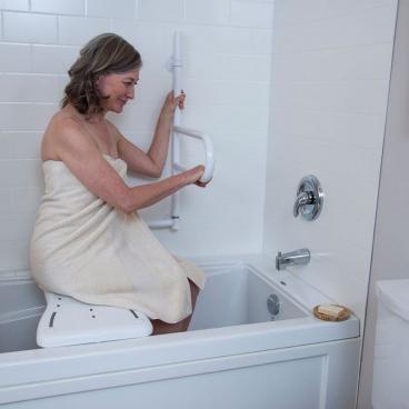 white bath safety bar