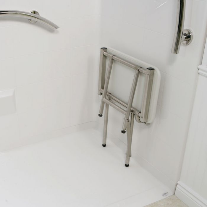 fold up shower seat & Freedom Folding Shower Seat With Legs Padded White (18\