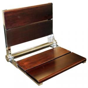 walnut wall mounted folding shower seat with back