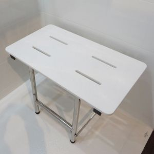 designer shower bench with solid surface top