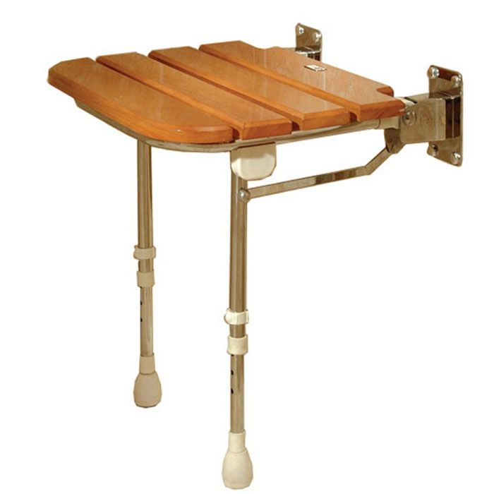 Freedom Folding Shower Seat With Legs Rubberwood 18 X 18