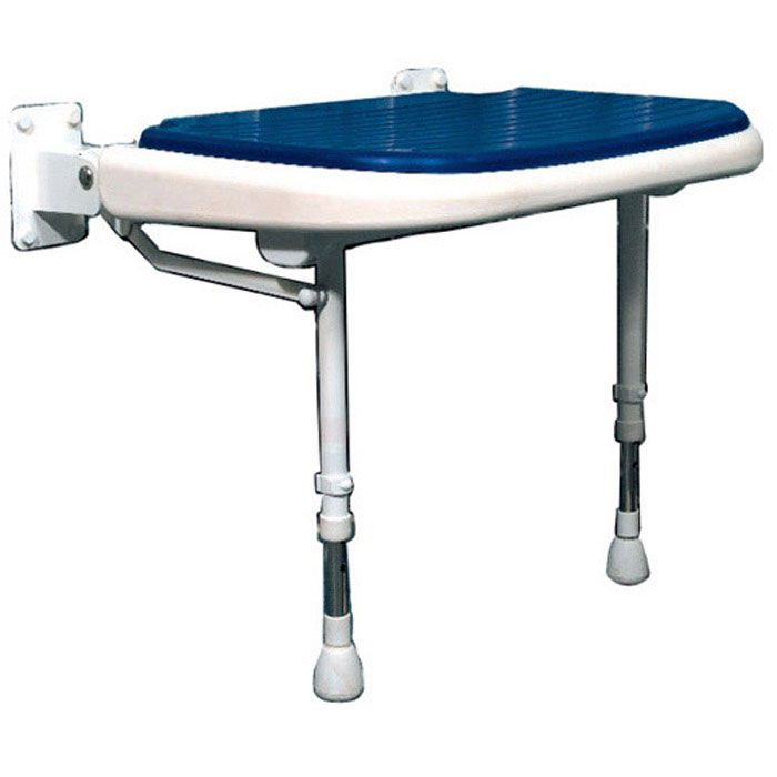 Wide Fold Down Shower Seat with Legs Blue Pad (23\