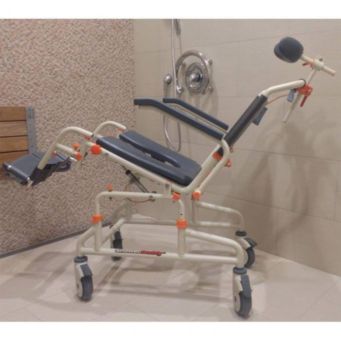 Roll in Shower Buddy Commode Chair with Tilt
