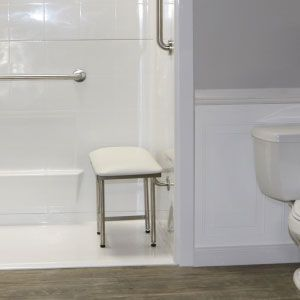 shower seat white padded