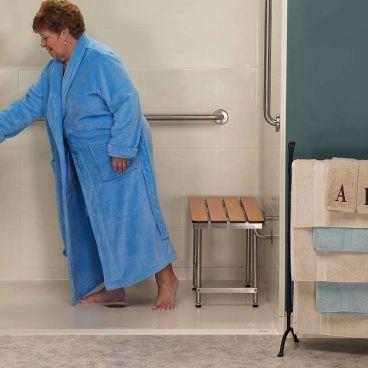 phenolic teach slatted shower bench
