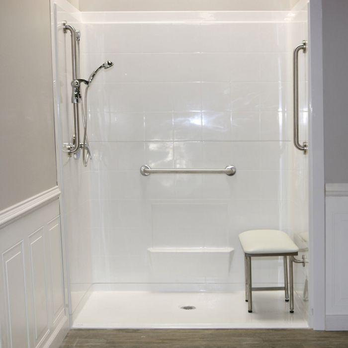 "Handicap Bathroom Showers: Freedom Accessible Shower, Center Drain, 5 Piece (60"" X 33⅜"""
