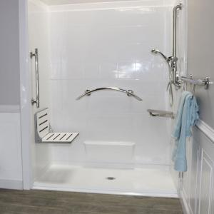 walk in shower with decorator seat