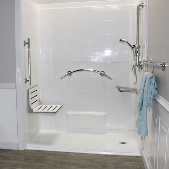 Freedom Decorator Shower Seat, high back 18.75 in w silver powder coat