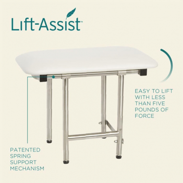 shower bench with lift assist