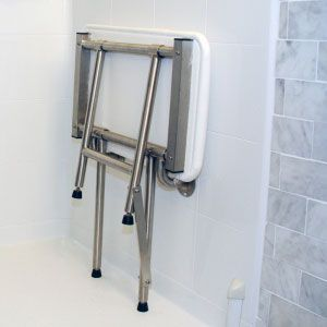 padded shower seat in up position