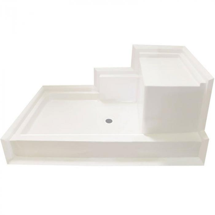 Shower Pans With Seat : Freedom easy access shower pan right molded seat quot ¼