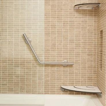 corner bath seat and corner shelf