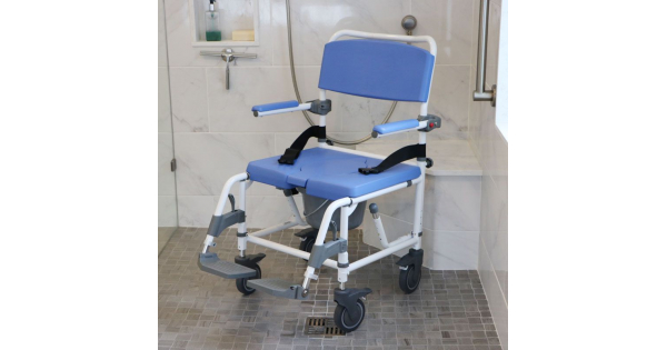 Rolling Commode Chair For Showers 18 Quot Wide Seat
