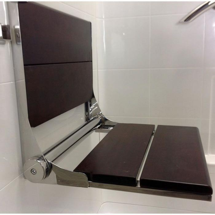 Walnut Shower Seat 18 Quot Wide With Polished Stainless Frame