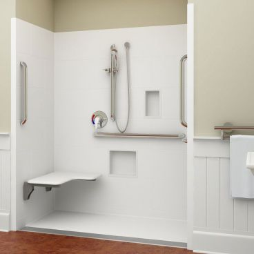 ADA linear drain shower left seat