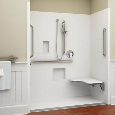 ADA trench drain shower right seat