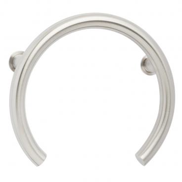 Satin stainless grab bar for shower valve