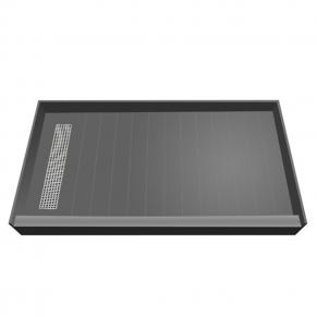 60 x 30 Easy Step Shower Pan, Polished Chrome Grate