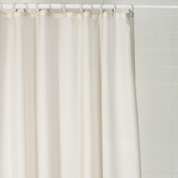 Nylon fabric weighted curtain, bright white, waffle pattern