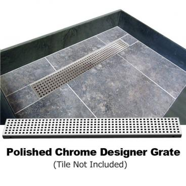 "63"" x 32"" Barrier Free Shower Pan, Polished Chrome Designer Grate"