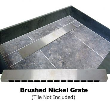 "60"" x 34"" Barrier Free Shower Pan, Brushed Nickel"