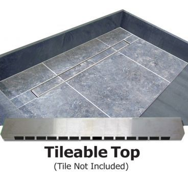 "63"" x 32"" Barrier Free Shower Pan, Tileable Grate"
